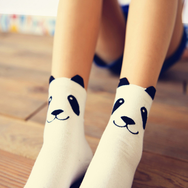 Cartoon Anime Men Women Panda Short Cute Sock art Socks For Women Lady Girl Summer Cotton kiss Sock ankle meias sox