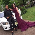 Sexy Festa À Noite Vestidos Longos com Trem Backless Da Sereia Borgonha Prom Vestido Roxo para Festa de Casamento Barato