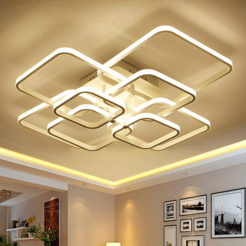 Hvid Færdig Moderne Led Ceiling Lights For Home Stue Soveværelse 8/6/4 Ringe Led Ceiling Lamp Indendørs Home Light Fixtures