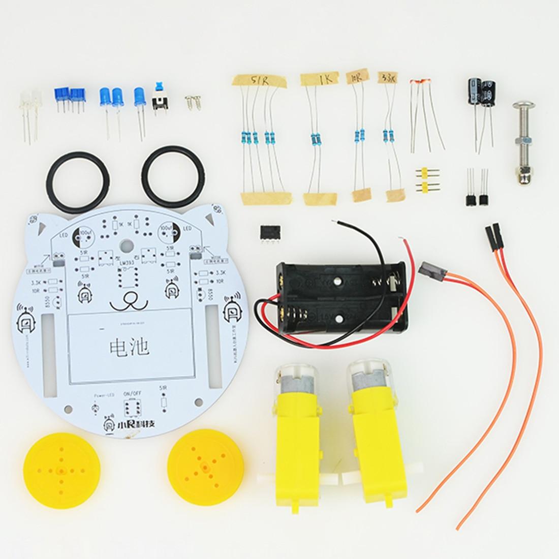 NFSTRIKE мини-Кот DIY умный радиоуправляемый робот-автомобиль отслеживающий паровой обучающий комплект программируемые игрушки для детей мальчиков-без батареи