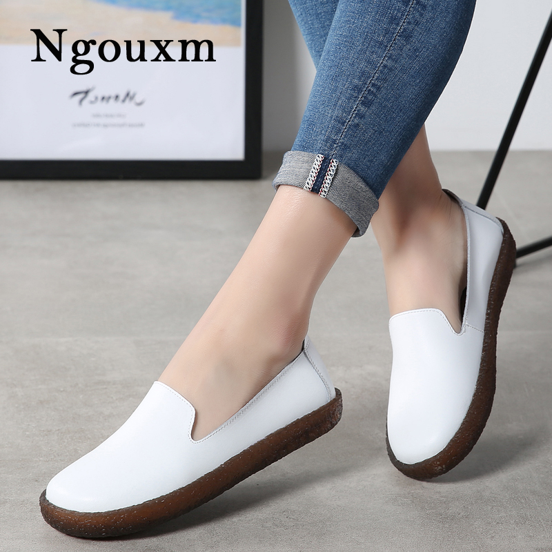 Ngouxm Women Loafers Flats Leather Shoes Woman Comfortable Loafers Slip On White Casual Flat New High Quality Soft Ladies Shoes ballet flats women flat shoes fashion loafers round toe slip on shoes woman casual soft comfortable