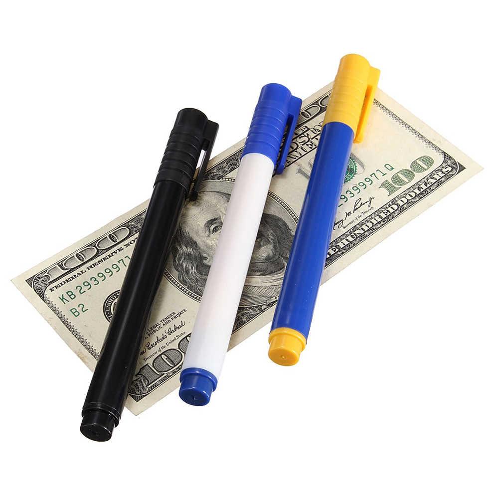 Banknot Tester kalem sahte dövme para birimi para fatura banka not kalem Checker dedektörü test cihazı işaretleyici sihirli para dedektörü kalem 3 renkli