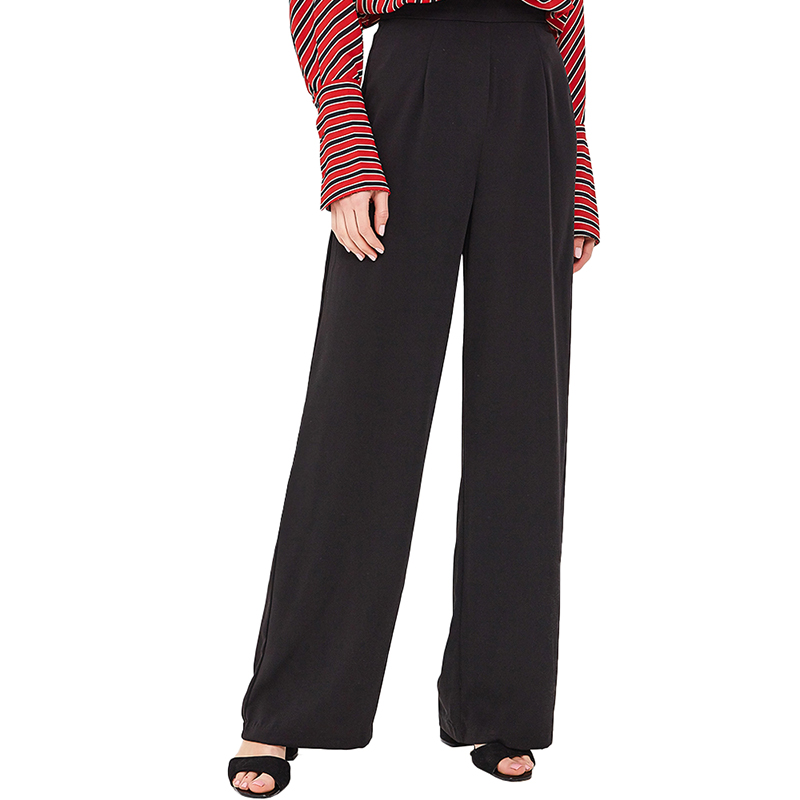 Pants & Capris MODIS M181W00989 women capri trousers for female TmallFS stylish high waisted black wide leg women s capri pants