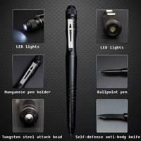 Уличный светодиодный Многофункциональный тактический стилус ручка для самозащиты ручка для защиты от сломанного окна молоток шариковая р...