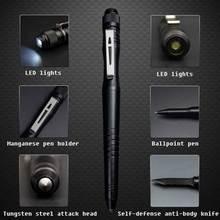 Outdoor LED wielofunkcyjny długopis taktyczny samoprzylepny długopis obronny długopis obronny escape broken window hammer długopis ze stopu aluminium