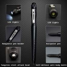 Stylo tactique multifonction de LED en plein air stylo dauto défense stylo de défense évasion fenêtre cassée marteau stylo à bille en alliage daluminium