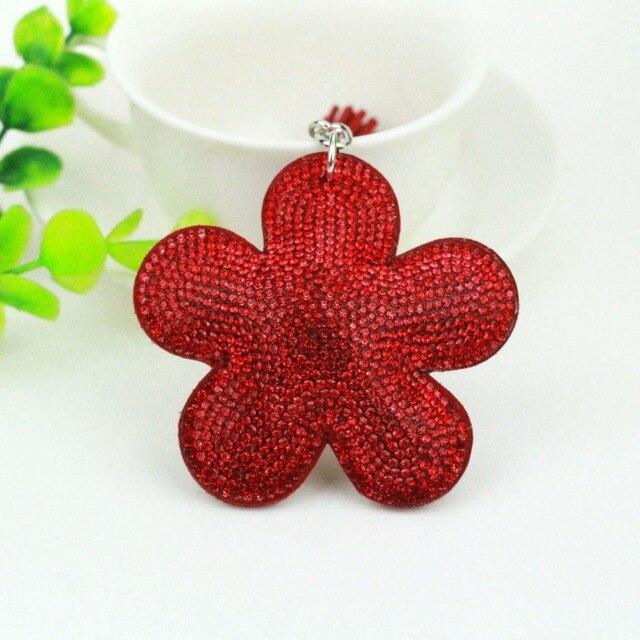 Cute Flower Key Cap Chain for Bag Car Fashion Women Girl Rhinestone Leather  Key Ring Keychains Fashion Jewelry Gift Wholesale f3fd7c789