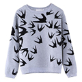 2015 Новые Моды для Женщин Ласточка Печати С Длинным Рукавом Пуловер Топы Толстовка С Капюшоном Верхней Одежды