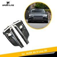 1 пара ПТФ в передний бампер решетка фары Гриль Крышка Chrome для Audi A5 Спорт S5 Sline 2017 2018 2019 Авто каркасы фонарей