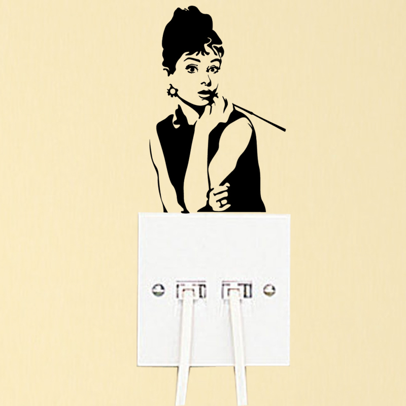 Audrey Hepburn Fashion Vinyl Bedroom Wall Sticker Light Switch Decal 6SS0316