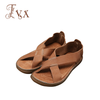Tayunxing Handmade Genuine Leather Classic Men Sandals All Cow Leather Casual Comfort Breathable 188 5