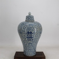 9 Antique QingDynasty porcelain vase,Blue & white peony happiness bottle,Hand painted crafts,Decoration,Collection&Adornment