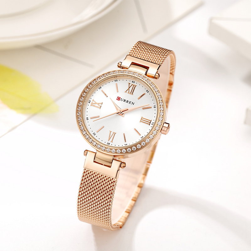 CURREN Rose Gold Watch Women Watches Ladies Stainless Steel Women's Bracelet Watches Female Relogio Feminino Montre Femme 9011-in Women's Watches from Watches