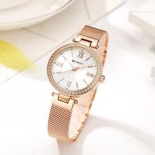 CURREN różowe złoto zegarek kobiet zegarki damskie ze stali nierdzewnej damskie bransoletki z zegarkiem kobiet Relogio Feminino Montre Femme 9011
