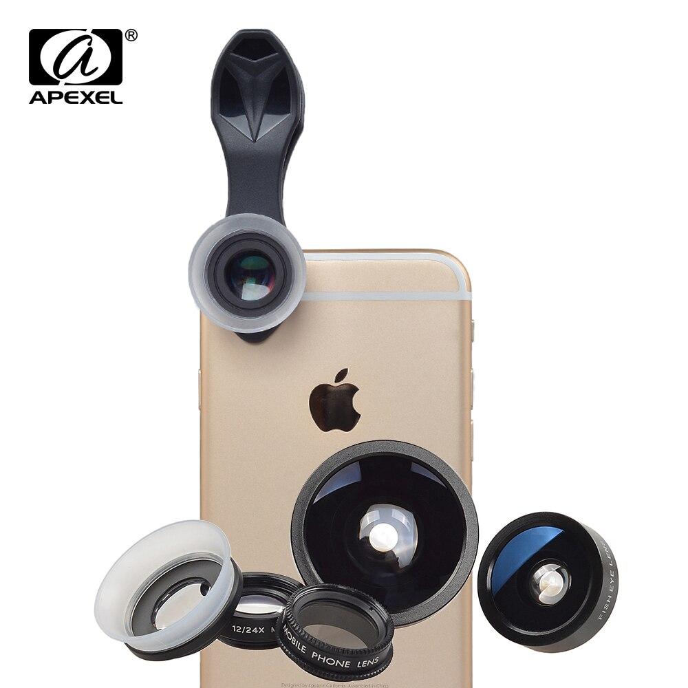 imágenes para Apexel Smartphone Lente 5 en 1 198 Grados de ojo de Pez lente 0.4x 24x de ángulo Macro Teléfono CPL Lente kits Clip Universal para iPhone 6/7