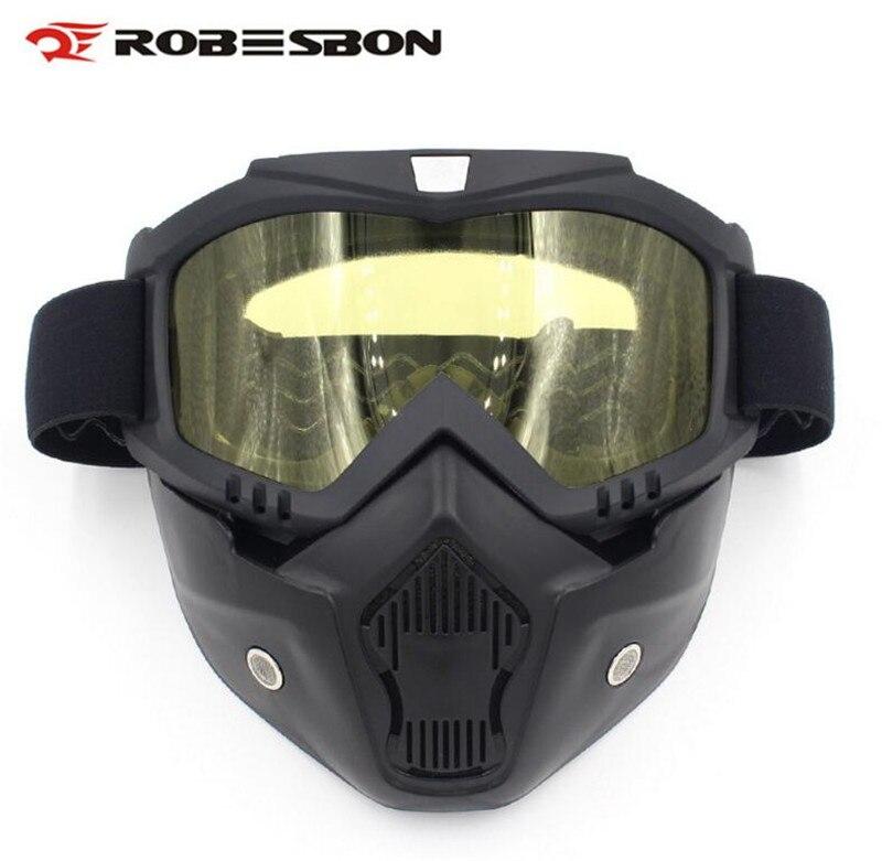 ROBESBON Moto Gogggles Modulaire Masque Amovible Lunettes et Bouche Filtre Pour Modulaire Open Face Moto Masque