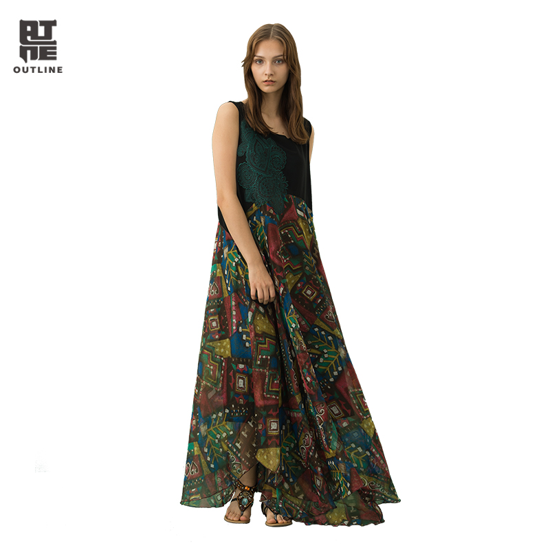 Здесь продается  Outline Women Floral Summer Dresses Kaftan Casual Pullover Patchwork Embroidery Vintage Floor Length Print Vestidos L182Y025  Одежда и аксессуары