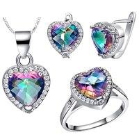 wholesal WGP Gem Noble Rich Ring Earrings Necklace Rainbow Gem Stone Set Heart Love 's GF choker bts diy unicorn