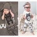 2016 estilo verão 1 conjunto de roupas infantis do bebê conjuntos de roupas menino de Algodão pequenos monstros de manga curta + calça 2 pcs roupas de bebê menino