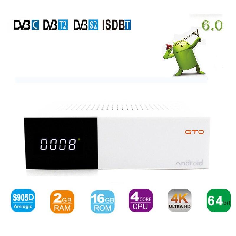 DVB-S2&T2/C/ISDBT Satellite Receiver DMYCO GTC TV Box Android 6.0 Amlogic S905D Quad core 2GB/16GB Dual WIFI BT4.0 TV Player d202 android dvb t2 tv receiver