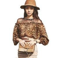 Корейский Для женщин Элегантный Leopard Блузка Топы корректирующие сетки лоскутное трепал отделкой с длинным рукавом Шифоновая блузка рубашк...
