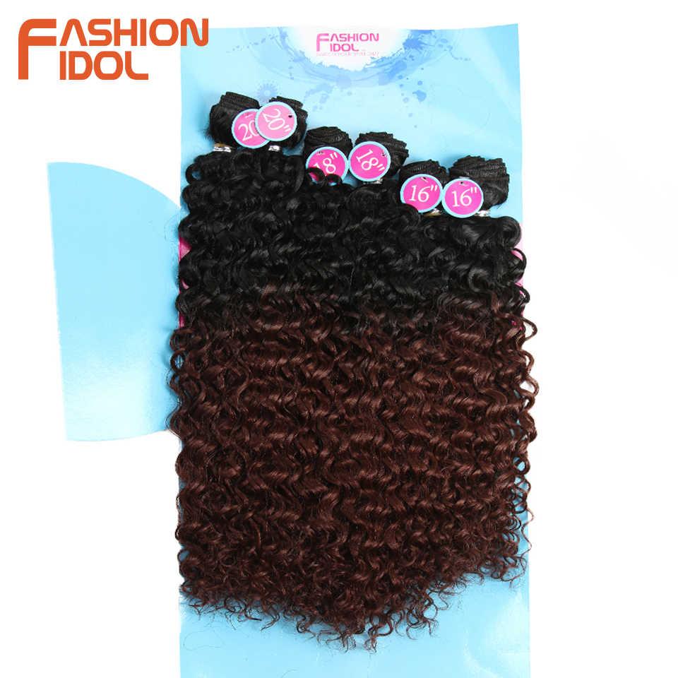 Moda ídolo afro kinky cabelo encaracolado pacotes extensões de cabelo sintético natureza cor 6 pacotes 16-20 polegada 250g kinky curly pacotes