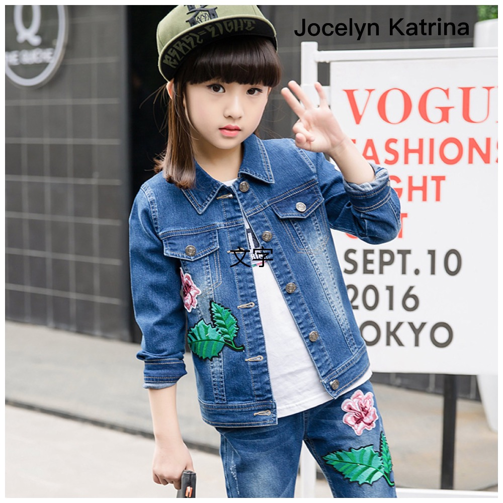 ФОТО Spring Autumn Girls Clothing Set Cowboy Girls Denim Coat+Jeans Trousers 2 pieces Set Kids Clothes for 3-14Years