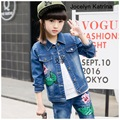 Spring Autumn Girls Clothing Set Cowboy Girls Denim Coat+Jeans Trousers 2 pieces Set Kids Clothes for 3-14Years
