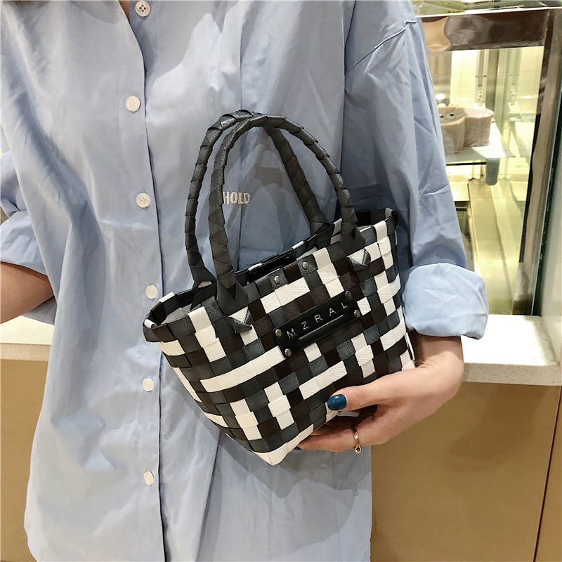 Female Tote Bags For Women 2019 High Quality Plastic Luxury Handbags Designer Sac A Main Ladies Knitting Bag in Top Handle Bags from Luggage Bags