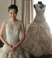 Real Sample Romantic A Line See Through Scoop Beading Long Ivory Ruffles Sexy Lace Wedding Dress 2016 Vestido De Casamento