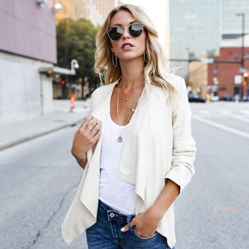 2019 New Women Female Cardigan Faux   Suede   Casual Lapel Solid All match Coat Short Jacket Autumn Winter Blazer White Gray