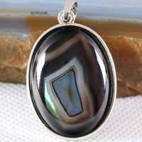 Free Shipping Silver Color Oval Natural Stone Bead Black Veins Onyx Women Necklace Pendant 1Pcs K666