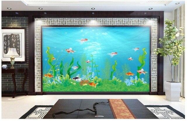 Personnalisé 3D Papier Peint Monde Sous Marin Aquarium Toile De