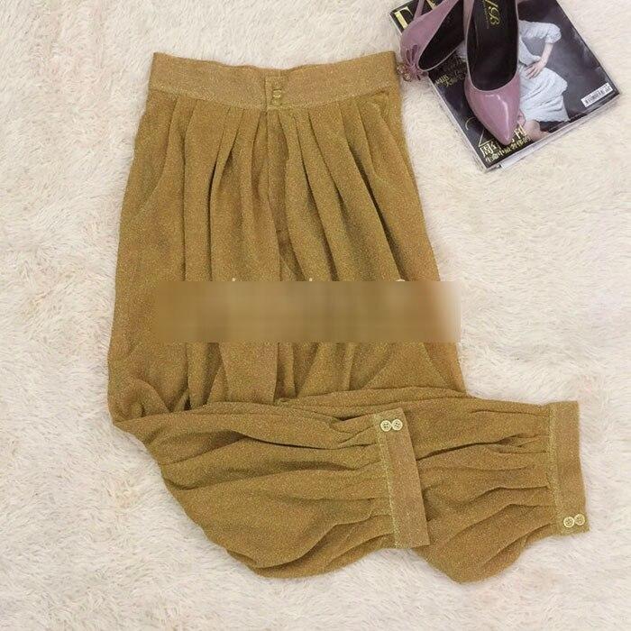 Lujo Baggy Pantalones Pantalón Alta Runway Calf 2018 Sexy Ancho Partido Oro Cintura Verano longitud Largos Shinny Chica Mujeres De XxwqaEUA