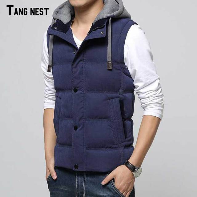 TANGNEST Men Winter Vest 2017 New Winter Men's Solid Hat Detachable Waistcoat Male Hooded Warm Padded Vest M-3XL MWB249