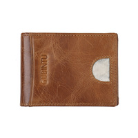 YISHEN Thin Men S Two Folded Money Clips Brief Design Genuine Leather Solid Dollar Purse Clips