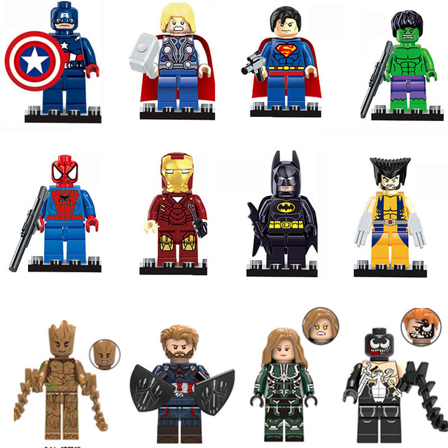 Super Heróis Thanos Guardians Of the Galaxy Batman LEGOINGLY Maravilhas Vingadores Hulk Spiderman Building Blocks Brinquedos Figuras de presente