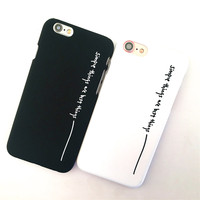 Par cajas del teléfono para el iphone 7 lindo iphone 6 s coque moda rosa negro bolsa del teléfono móvil de plástico duro para el iphone 7 6 5 SÍ capa