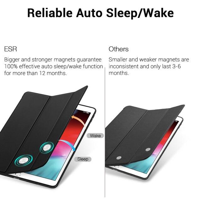 ESR caso iPad mini 5 3 2019 Air3 de cuero Slim Ultra inteligente Goma, TPU suave volver imán para iPad 7 7th Gen 10,2 azul