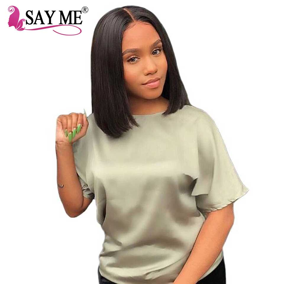 SAY ME Glueless Pre Plucked Human Hair Short Bob Wigs Brazilian Remy Hair Silky Straight Lace