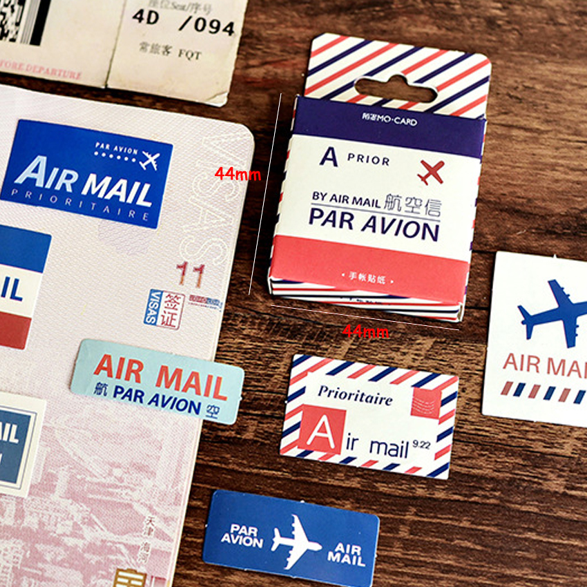 45pcs/pack Vintage Air Mail Paper Scrapbook Adhesive Sticker Decorative Memo Diary Stickers Stationery Sticky