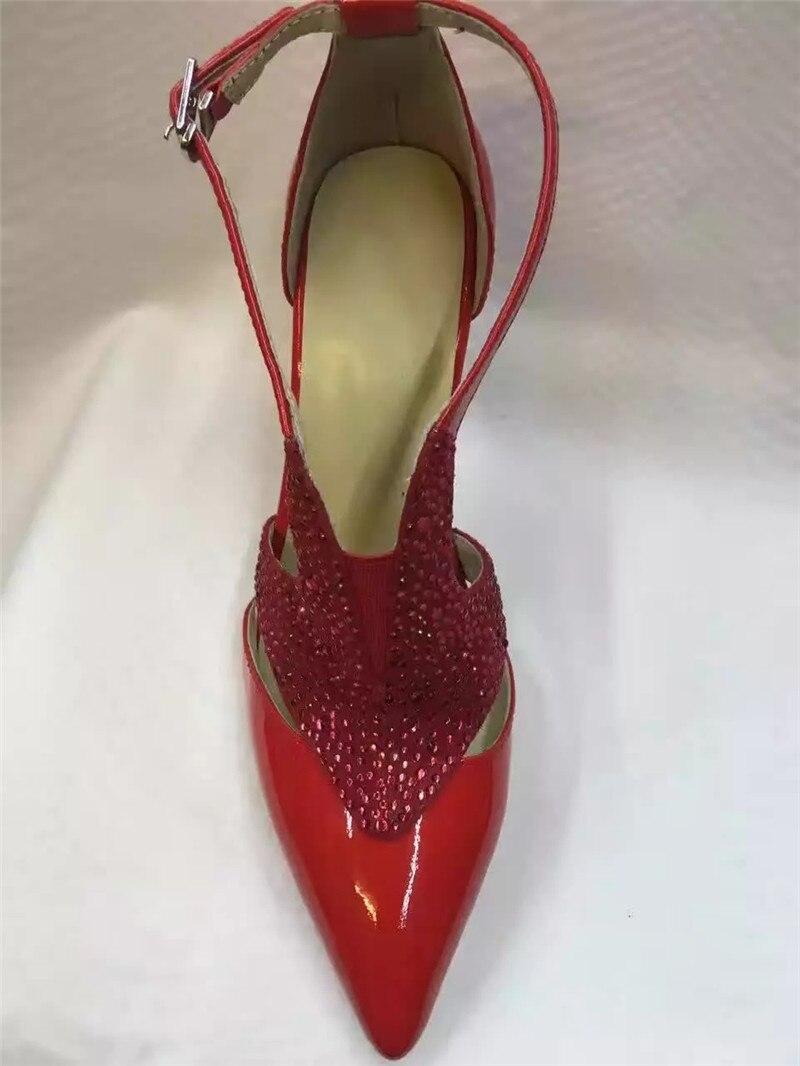Cristal Mince Rouge Talons Black Cloutés Pompes Soirée Bling Cuir red Strass Femmes Chaussures De Verni En Boucle Sexy Hauts Femme wYdqBw