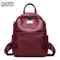 AOYI 2017 Fashion Brand Women Backpack PU Leather Backpack Shoulder Bag School Back Bag For Teenager