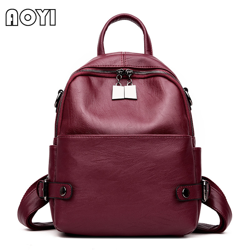 AOYI 2017 Fashion Brand Women Backpack PU Leather Backpack Shoulder Bag School Back Bag for Teenager Girls Rucksack Mochila New