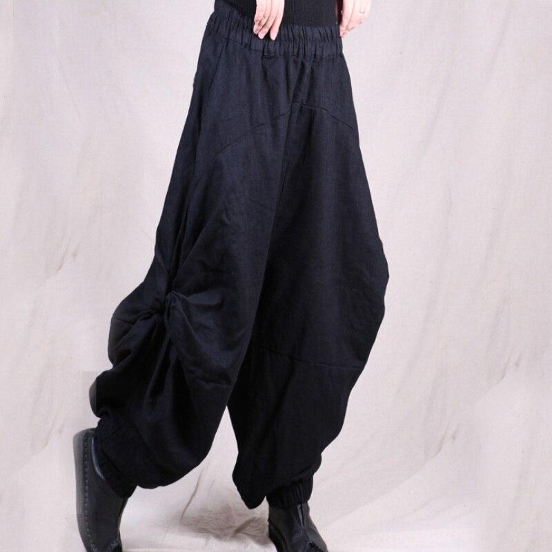 2018 wiosna jesień na co dzień stałe szerokie spodnie nogi luźne plisowana bawełna pościel Bloomers w stylu Vintage kobiety Pantalettes 3 kolory w Spodnie i spodnie capri od Odzież damska na  Grupa 1