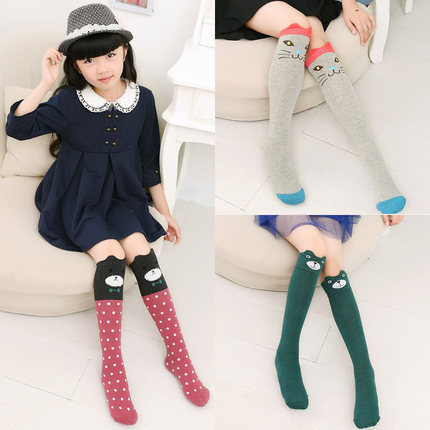 2017 Cute Animal Socks Kids Girls Knee High Socks 3D Cartoon School Over Knee Long Socks Cotton Fox Cat Leg Warmer Color 3-10Y