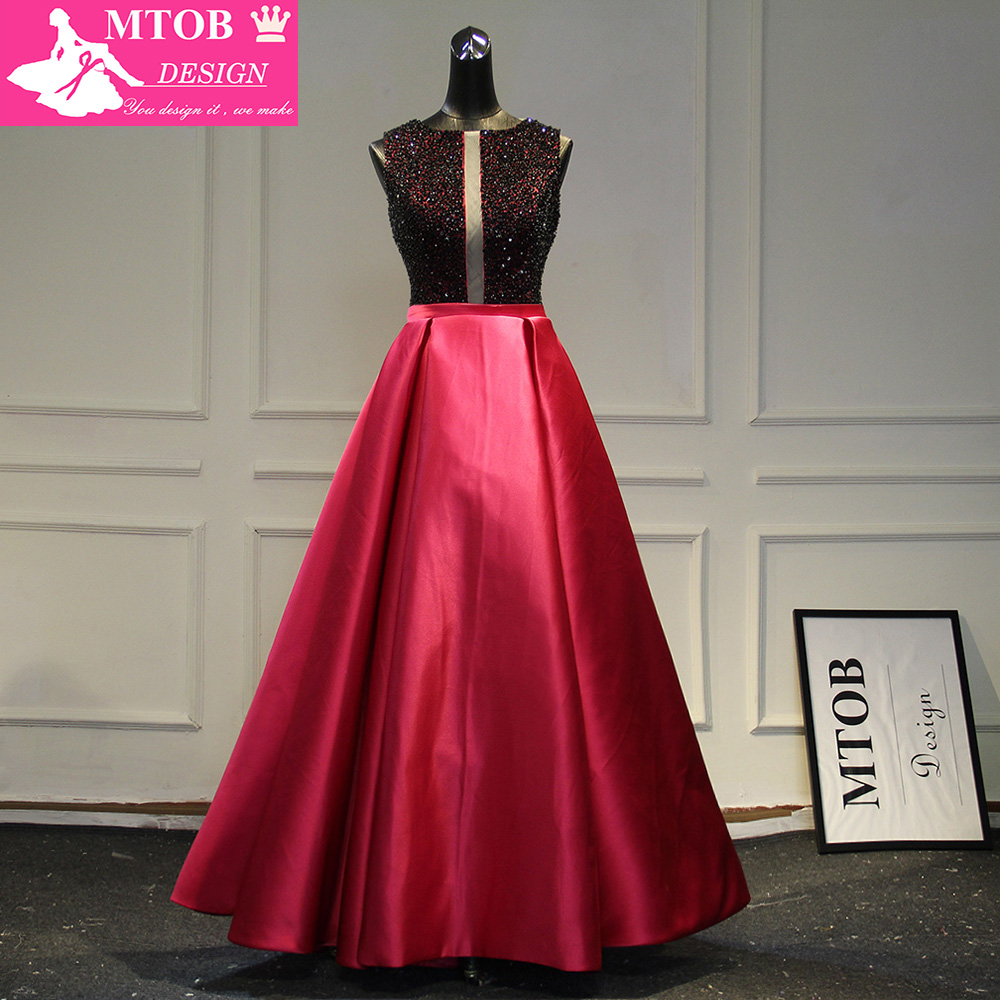 Stylish   Prom     Dress   A-line Black and Red Satin vestido de festa Party vestido de festa Evening   Dresses   MTOB1008