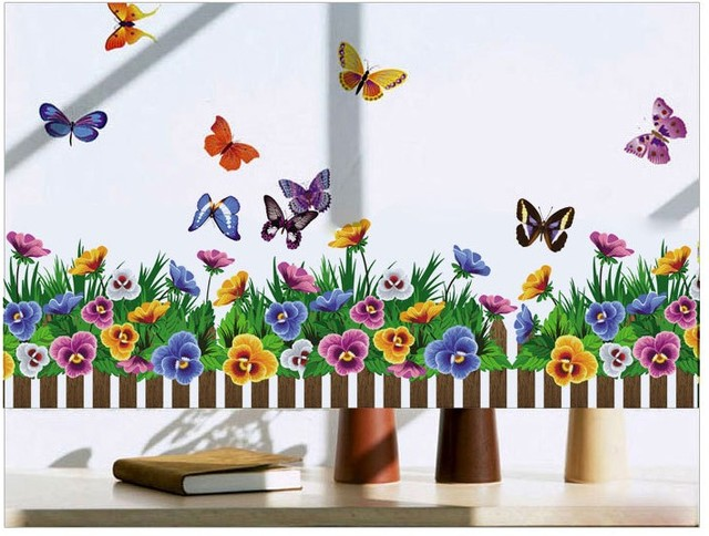 Elegant Home Decor Flower Butterfly Decoration Desktop Wallpaper Bathroom Kitchen  Glass Vinyl Wall Sticker Quotes Princess Loving