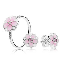 Magnolia Bloom Pink Enamel Spring Ring & Stud Earrings Silver 925 Jewelry Sets Crystal Flowers Silver Ring & Earrings for Party