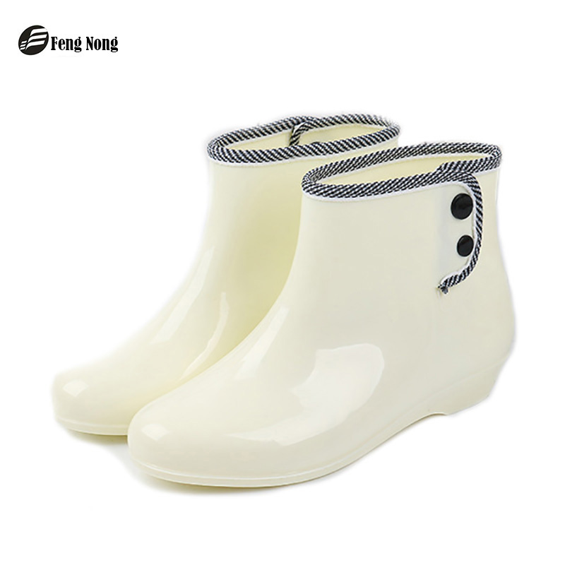 Feng nong spring winter woman rain boots ladies short rain buttons resistant buckle rubber boots round toe women boots w018